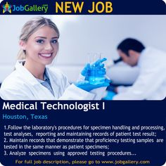SEEKING A MEDICAL TECHNOLOGIST I IN HOUSTON, TEXAS   #Job #NewJob #Jobs #Trending #JobOpportunity  #jobgallery #healthcare #healthcarejobs #medicaljobs #HoustonJobs #TexasJobs #HoustonTx #Houston #Texas