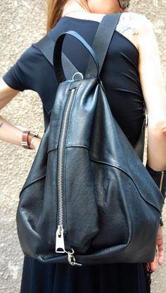Leather Overalls, Black Leather Backpack, Leather Bag, Zipper Bags, Leather Craft, Black Stripes, Leather Handbags, Drawstring Backpack, Etsy