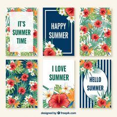 夏のかわいいコレクションカード 無料ベクター