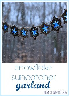Snowflake Suncatcher Garland- Made from salt dough and melted pony beads