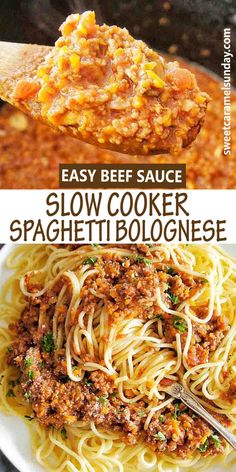 Easy recipe for beef sauce Spaghetti Bolognese in the Slow Cooker! This crockpot bolognese is set and forget so it pretty much cooks itself! #slowcookerrecipes #crockpotdinners #spaghettibolognese #easydinnerrecipes @sweetcaramelsunday