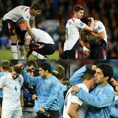 Inspiring Image No Quote. I have to share this. When Liverpool lost the championship, Steven Gerrard picked Suarez up. Now that England lost to Uruguay in World Cup, Suarez tried to pick Gerrard up. | Additionally, if you would like to watch highlights of the match between Uruguay and England: http://m9.my/go/fvm9evugh - @mobile9 #friendship #football #worldcup