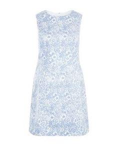Blue Floral Print A-Line Dress  | New Look