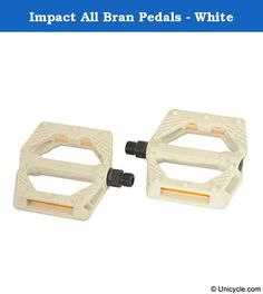 Impact All Bran Pedals - White. Special high quality plastic material with fibers inside. This new material offers incredible strength and duribility. Safer than alloy pedals in any extreme use Good for flat or street. Available in Black or White. CrMo axle with Special plastic + Fiber material body Features: * Fiber reinforced Plastic body * White body * Serviceable looseball bearings * 9/16 standard threads * Cage protected bearing cap * CrMO spindle * DX style * Impact logo Weight…