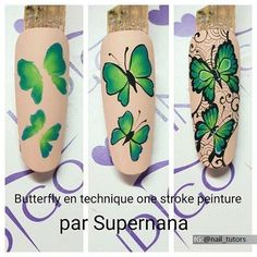 Heat Up Your Life with Some Stunning Summer Nail Art Butterfly Nail Designs, Butterfly Nail Art, Nail Art Designs, Gorgeous Nails, Love Nails, Pretty Nails, Nail Techniques, Nails First, One Stroke