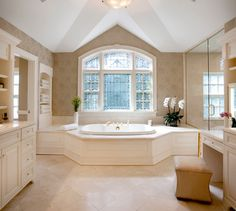 Master Bath W Clerestory Windows And Mirror Over Tub Design Ideas, Pictures, Remodel and Decor