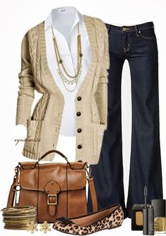 Cabi's Fall 13 cable sweater, white Tailored Shirt and vintage Farrah jeans! Add our new skin print scarf and you have cozy fall fashion