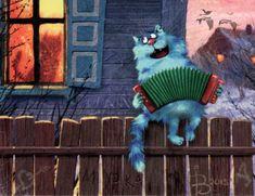 Кот на заборе с гармошкой