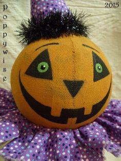 Primitive HALLOWEEN Art * Party Pumpkin Jack O' Lantern Nodder Doll * POPPYWISE #NaivePrimitive