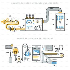 Flat Line Design Concepts For Mobile Apps Development Stock Vector - Illustration of connection, concept: 61310196 Mobile Application Development, App Development, Mobiles, Office Wall Design, Free Ppt Template, Journey Mapping, Smartphone, Mobile App Design, Applications