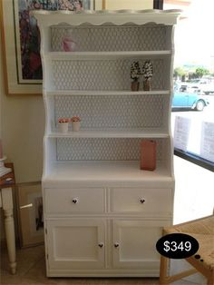 White vintage hutch customized with darling chicken wire.    Yesterdays Treasures Consignment  5829 Lone Tree Way Suite J  Antioch, CA 94531  925.233.4547  www.Yesterdayststore.com  Info@yesterdayststore.com