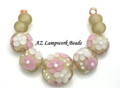 AZ Lampwork Handmade Velvet Brown Pink Focal by AzLampworkBeads, $42.00