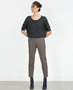 Image 1 of JACQUARD LOOM TROUSERS from Zara