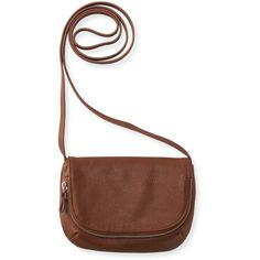 Aeropostale Faux Leather Crossbody Bag ($11) ❤ liked on Polyvore featuring bags, handbags, shoulder bags, medium brown, shoulder sling bag, vegan purses, cross-body handbag, brown crossbody purse and vegan handbags