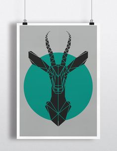 Art Print Geometric Gazelle Head Print Cool Grey Gazelle by Stencilize. Geometric Prints, Animal Prints, deer Head Print