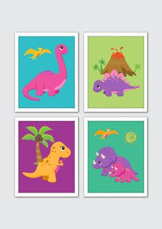 Dinosaur Nursery Art Dinosaur Room Decor Girls by RomeCreations