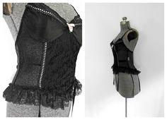 1970s Vintage Black Bustier/Garter/Fishnet Lace / by rileybella123,