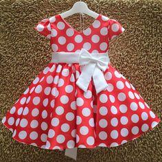 Pink Blue Red Kids Girls Polka Dot Dress for Wedding Birthday Christmas Baby Summer Flower Girl