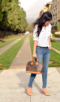 Outfit with vintage Louis Vuitton monogram Alma bag.
