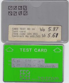 British Telecom (BT) Optical Cardphone Test Cards and Gyr, Test Card, Competition, British, Cards, Maps, Playing Cards, England