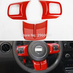 Interior Red ABS Steering Wheel Cover Trim Sticker Fit For Jeep Patriot Compass Wrangler 2011 2012 2013 2014 2015 2016 Jeep Compass Accessories, Jeep Patriot, Wheel Cover, Honda Logo, Interior Accessories, Abs, Sticker, Crunches, Abdominal Muscles
