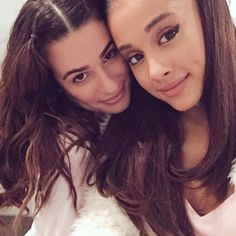 Lea Michele and Ariana Grande on the Scream Queens set