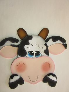 Vacas Art For Kids, Crafts For Kids, Sweet Cow, Cow Gifts, Farm Quilt, Plastic Bag Holders, Jar Art, Country Paintings, Ornaments Design