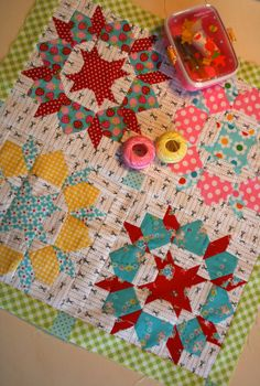 mini Swoon quilt - trying to think if I've ever seen this block made with dark & dirty civil war fabrics? Might be nice!