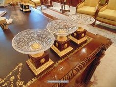 Lot 646 - A set of three Empire style Tazza crystal, marble and Dore bronze 190mm tall