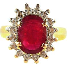 SOLD Elegant natural No Heat ruby ring in stamped solid gold and enhanced with 16 earth mined diamonds t. Natural Ruby, Art Object, Ruby Lane, Beautiful Rings, Sparkles, Solid Gold, Gemstone Jewelry, Jewelery, Vintage Jewelry