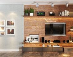 "Check out new work on my portfolio: ""Studio Apartment""… Elegant Living Room, Living Room Modern, Home Room Design, Interior Design Living Room, Studio Apartment, Apartment Design, Minimal House Design, Brick Interior, Living Room Tv Unit Designs"