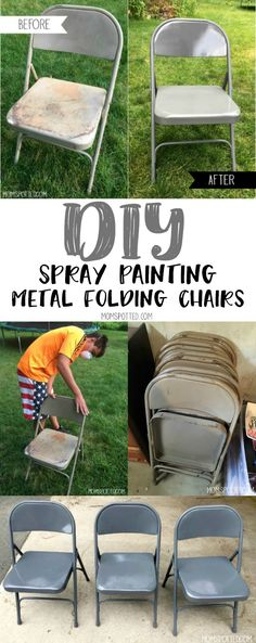 DIY Spray Painting Metal Folding Chairs - Mom Spotted - - Spray Painting Metal Folding Chairs are the way to entertain affordably. Refurbish old chairs to new again! Here's how we updated ours to look new! Spray Painting Wood Furniture, Spray Paint Chairs, Metallic Painted Furniture, Diy Spray Paint, Metallic Spray Paint, Diy Painting, Spray Paint For Metal, Painted Folding Chairs, Painted Metal Chairs