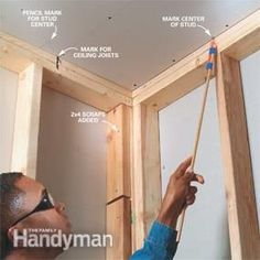 A good drywall job starts with solid backing and properly driven fasteners. Learn how pros make their finished drywall look smooth and straight. Drywall Repair, How To Install Drywall, How To Finish Drywall, How To Hang Sheetrock, Drywall Finishing, Hanging Drywall, Framing Construction, Drywall Installation, Build A Wall