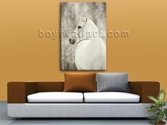 Elegant designed 1-panel Giclee high-resolution canvas wall print with horse in contemporary style. It is available in numerous sizes to fit any size room!