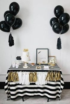 Modernize the standard black and white party by adding gold into your decor.