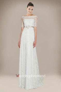 [$179.99] Sweet Floral Sheer Bateau Column Chapel Train Lace Wedding Dress