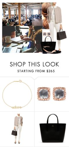"""""""Having a full day of meetings at work."""" by duchess-danielle ❤ liked on Polyvore featuring Jennifer Meyer Jewelry, Larkspur & Hawk, Microsoft, Peserico, Lacoste and Tory Burch"""