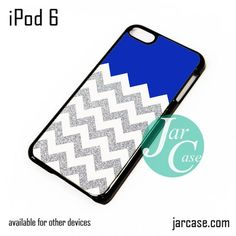 Navy Blue Silver Glitter Chevron iPod Case For iPod 5 and iPod 6