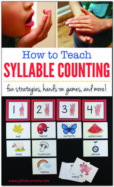 Knowing how to count syllable is an important pre-reading skills for preschoolers and kindergarten students to master. Learn some simple strategies for teaching syllable counting and get resources to help students practice these skills. Syllables Kindergarten, Teaching Phonics, Kindergarten Worksheets, Teaching Reading, In Kindergarten, Kindergarten Graduation, Learning, Teaching Ideas, Phonological Awareness Activities