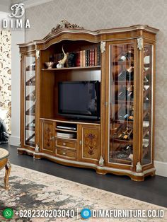 Lemari Hias Jati Mewah Set Bufet TV Luxury Natural Classic Jepara Best Sale TTJ-1465 Real Estate Development, Real Estate Houses, Home Entertainment, Home Goods, Cool Style, Interior, Furniture, Home Decor, Style Fashion