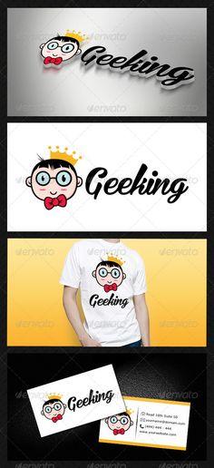 Geek King (Geeking) Logo Template — Vector EPS #geek logo #pc • Available here → https://graphicriver.net/item/geek-king-geeking-logo-template/3614095?ref=pxcr