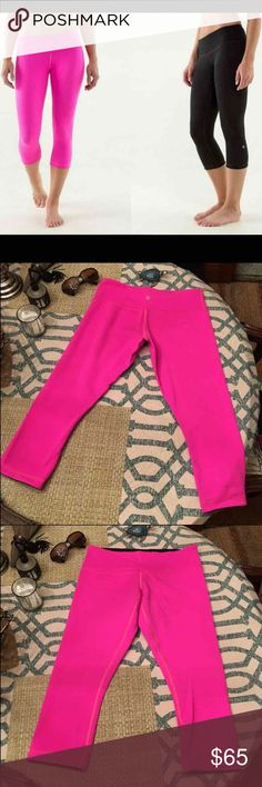 Lululemon Reversible Crop Capris Like new, size 6. Reversible pink to black. No piling, only worn a few times.  Lots of Victoria Secret, Pink, Nike, Under Armour, Lululemon, Patagonia, Miss Me, and other Buckle items to list. Follow me to check out the great deals. I'm always happy to bundle. lululemon athletica Pants Capris