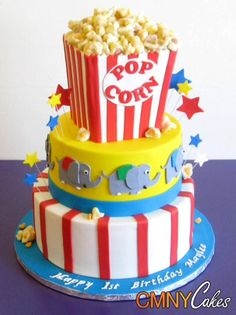Birthday Cakes Carnival themed cake and cupcakes Terrific