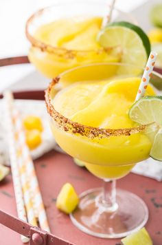 Super Easy Chili Mango Margaritas - Only 5 ingredients make up this perfect drink, made non-alcoholic or in cocktail form. CHEERS!