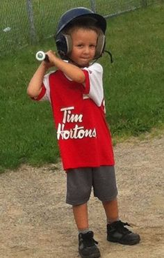 My baby Parker swinging a bat just like his big brother. We all enjoy playing baseball.