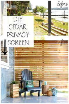 Craving a cozy, private patio space? Learn how to build a DIY cedar privacy scre… Craving a cozy, private patio space? Learn how to build. Backyard Patio Designs, Backyard Projects, Backyard Landscaping, Backyard Ideas, Privacy Screen Outdoor, Deck Privacy Screens, Privacy Wall On Deck, Diy Privacy Fence, Privacy Ideas For Deck