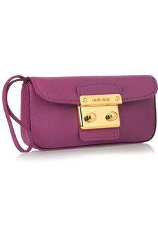 Miu Miu leather wristlet bag in vivid violet