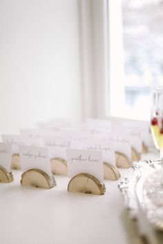 Birch Wood Escort Card Base | photography by http://jacquelynnphoto.com/ stationery by Alexis June Creative / www.alexisjune.com