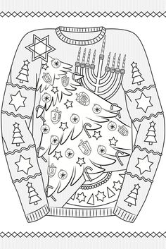 Creative Haven Ugly Holiday Sweaters Coloring Book - Adult Coloring Pages Dover Coloring Pages, Printable Coloring Pages, Coloring Pages For Kids, Coloring Books, Ugly Holiday Sweater, Christmas Sweaters, Ugly Sweater, Christmas Coloring Sheets, Doodle Pages