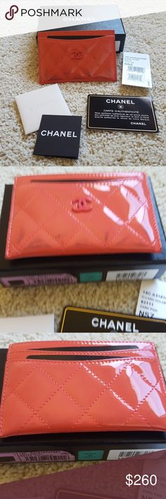 Authentic CHANEL O-Card Case Coral Patent Leather Authentic CHANEL O-card case from 13C in dark pink (coral) patent leather. Please view photos closely - the exterior of the case has dye transfer damage. It is worse on the front than on the back, but it does affect both sides. The interior is pristine.  Quilting is puffy, stitches are intact.  Comes with full set - authenticity card, box, felt wrap, other Chanel care cards. CHANEL Bags Wallets